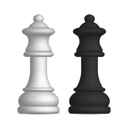 Photo realistic black and white chess piece queen. Front wiev, vector illustration.