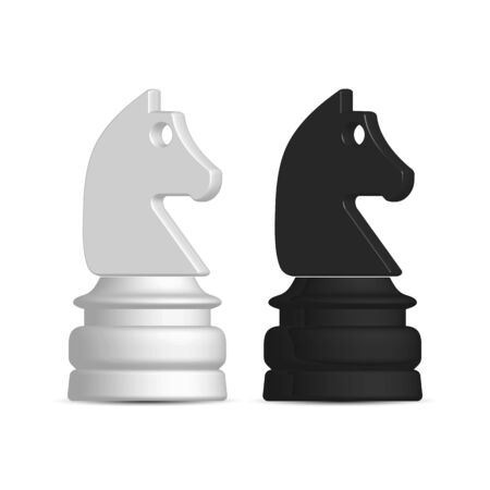 Photo realistic black and white chess piece knight. Front wiev, vector illustration.