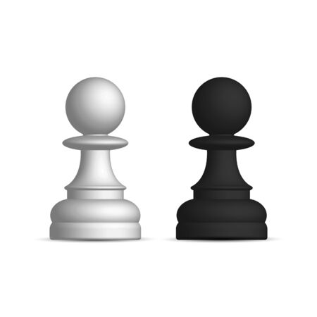 Photo realistic black and white chess piece pawn. Front wiev, vector illustration.