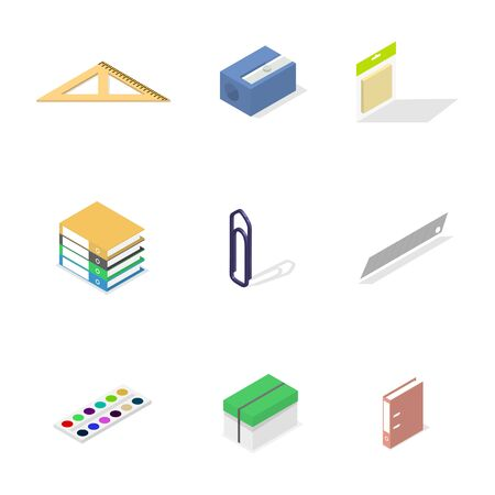 Set of icons isolated on white background, office and school. Flat 3d isometric style, vector illustration.