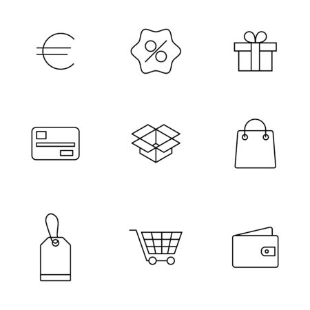 Finance and shopping icons set of thin lines, vector illustration. Ilustracja