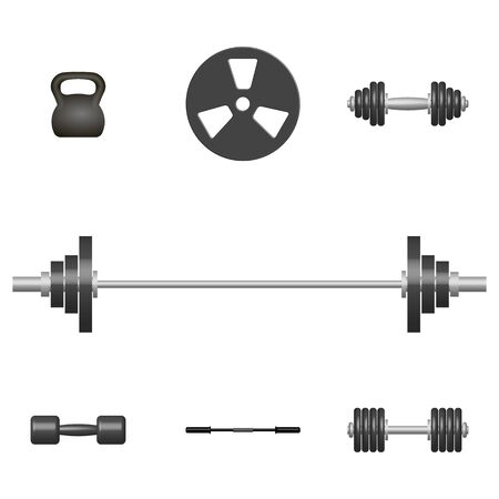 Set of 3D sports equipment items. Elements design for gym and fitness room. Front view, vector illustration.