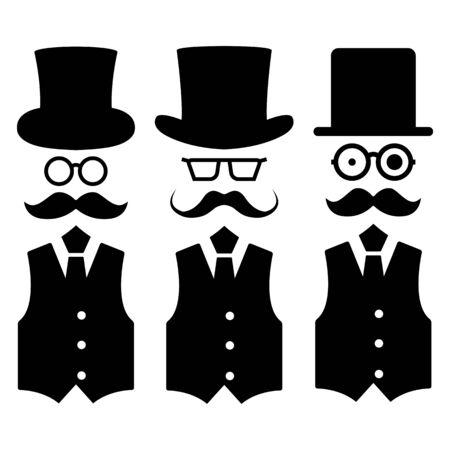 Set of gentleman stick figures, black mans silhouettes on a white background. Icons people, vector illustration. Ilustração