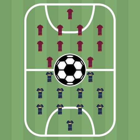 Texture soccer field with markup, ball and players, vector illustration.