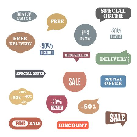 Premium quality labels for shopping, e-commerce, product, social media stickers and marketing. Flat style, vector illustration.