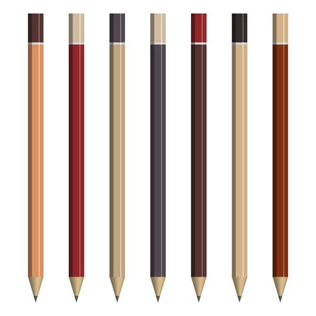 Set of various pencils for sketching. Front view, vector illustration. Illustration