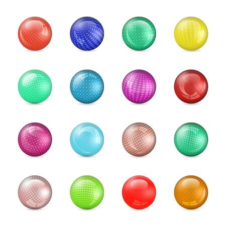 Set of glossy colored balls with halftone fill, isolated on white background, vector illustration.