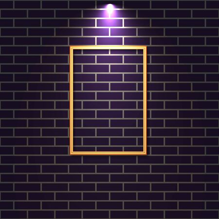 Brick wall with lighted wooden frame , vector illustration.
