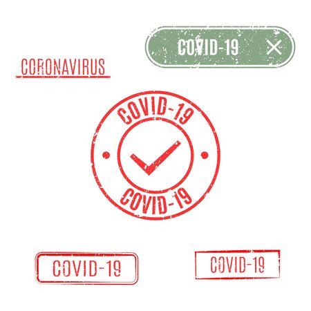 Set of rectangular and round coronavirus stamps isolated on white background, vector illustration.
