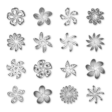 Set of various abstract flower buds isolated on white background, vector illustration.