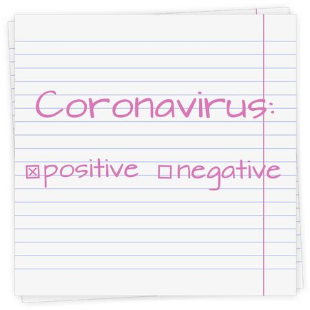 Coronavirus positive and negative result. Text on a sheet of paper in a line, vector illustration.