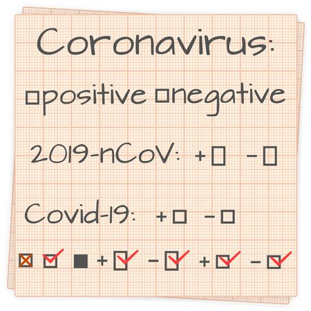 Coronavirus positive and negative result. Text on a sheet of paper, vector illustration.