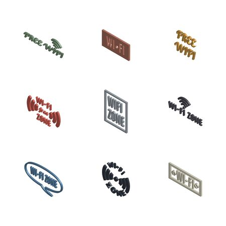 Set of various wireless icons isolated on a white background. 3D isometric style, vector illustration.
