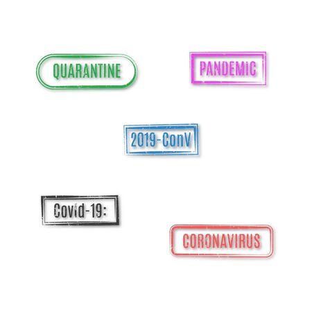 Set of rectangular coronavirus stamps isolated on white background, vector illustration. Illustration