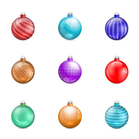 Glossy christmas tree toys isolated on white background, vector illustration. Set of design elements for greeting cards, New Year banners.