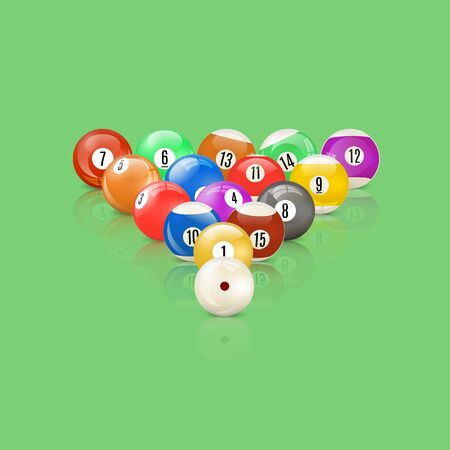 Set of 3D glossy snooker balls with mirror reflection, vector illustration.