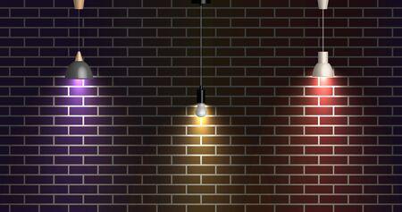 Dark brick wall illuminated by lamps, vector illustration.