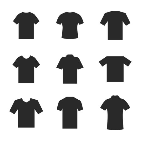 Set of different t-shirts. Black silhouettes on white background. Design element outerwear and article of clothing, vector illustration. Illustration