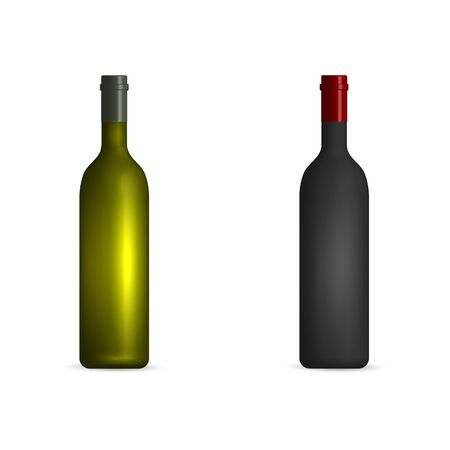 Photorealistic bottles of red and white wine. Front view, vector illustration. Illustration