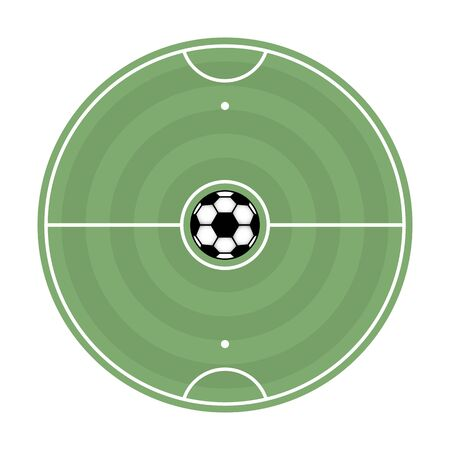 Round soccer field with markup and ball, vector illustration.