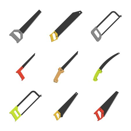 Set of various hacksaws and saws isolated on a white background. Flat style, vector illustration. Illustration