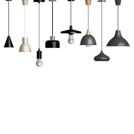 Set of various lamps and fixtures isolated on a white background. Front view, vector illustration.