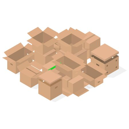 Bunch of cardboard boxes isolated on white background. Packaging design elements. Flat 3D isometric style, vector illustration. Illustration