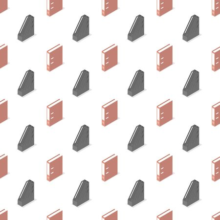 Seamless background from a set of office and school accessories, vector illustration. Illustration
