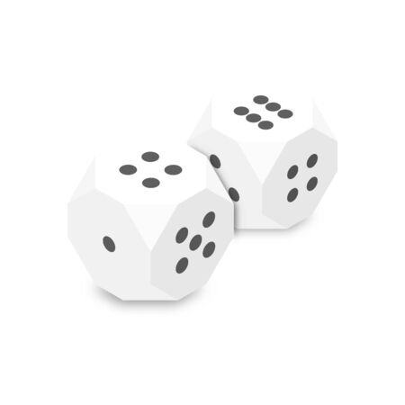 White dice, flat 3D isometric style, vector illustration.