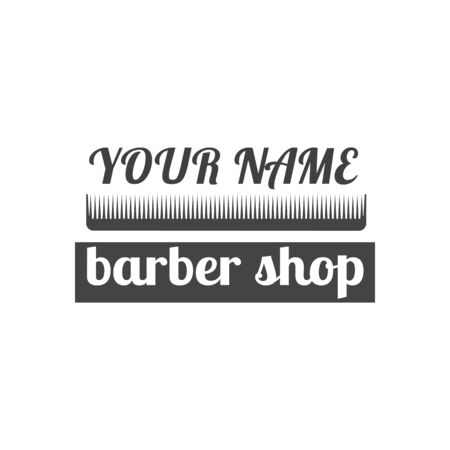 Grey emblem,  label for a barber shop, isolated on a white background. Vintage flat style, vector illustration.