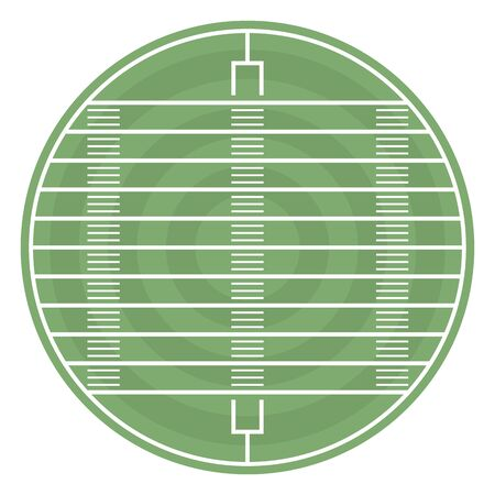 Round field to play football with markup and gate, vector illustration. Illustration