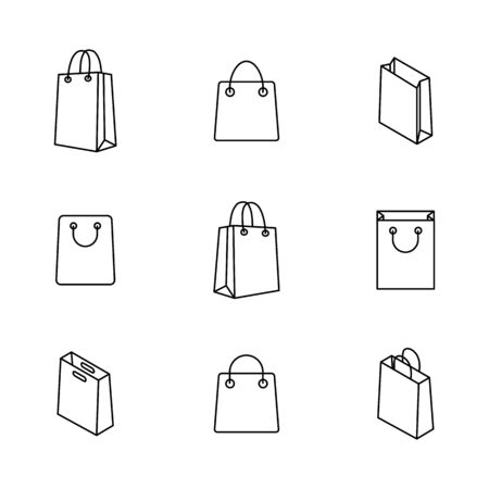 Finance and shopping icons set of thin lines, vector illustration. Illustration