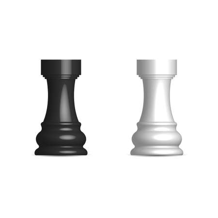 Photo realistic black and white chess piece rook. Front view, vector illustration.