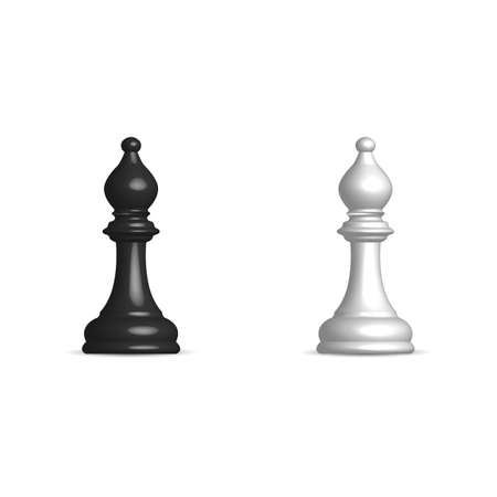 Photo realistic black and white chess piece bishop. Front wiev, vector illustration.