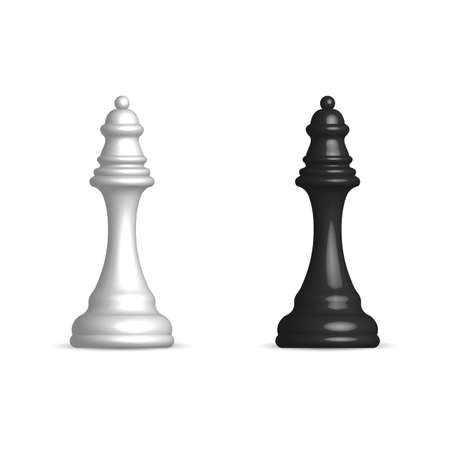 Photo realistic black and white chess piece queen. Front view, vector illustration. Illustration