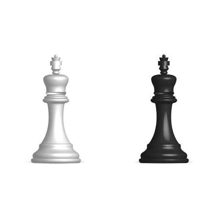 Photo realistic black and white chess piece king. Front view, vector illustration.