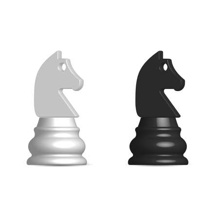 Photo realistic black and white chess piece knight. Front view, vector illustration.