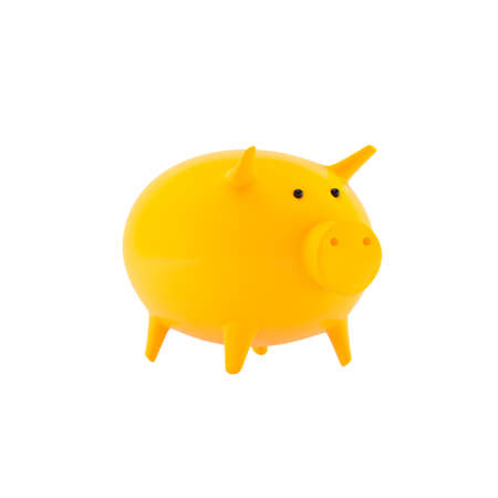 Yellow piggy bank pig isolated on a white background. The concept of material well-being and financial independence. Half view, 3D render.