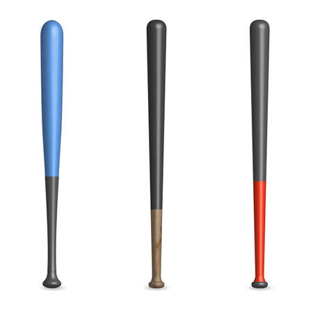 Set of various wooden and plastic baseball bats isolated on a white background. Front view, vector illustration.