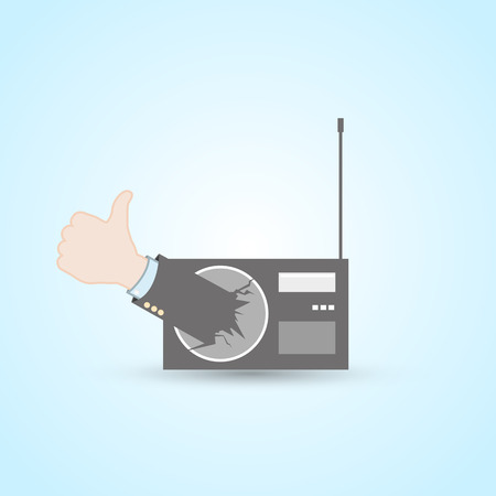 Radio station thumb up Vector