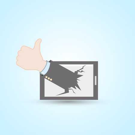 thumb up tablet pc Stock Vector - 27453349