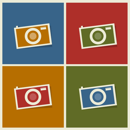 polarizing: photo camera flat icons