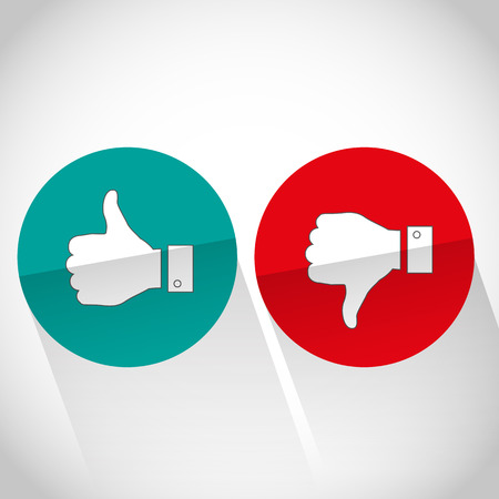 Social media flat like dislike hand icon Vector
