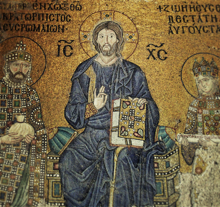 Jesus Christ Mosaic Composition in Hagia Sophia