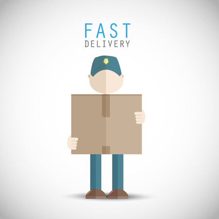 man carrying box: Fast delivery man Illustration