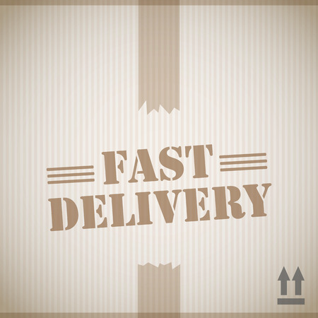 fast delivery: Fast delivery cardboard box Illustration