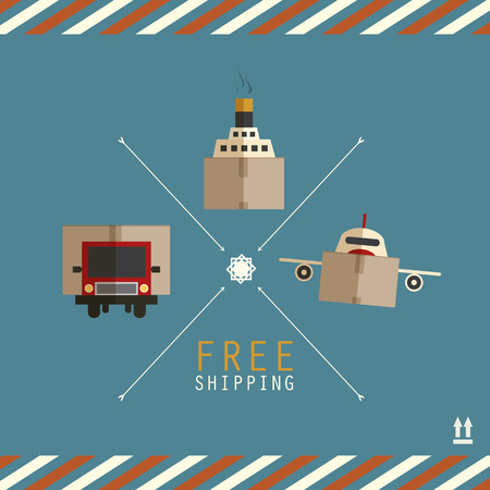 Free shipping carriers made of cardboard boxes Vector