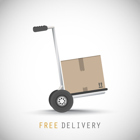 Hand truck with free delivery box  イラスト・ベクター素材