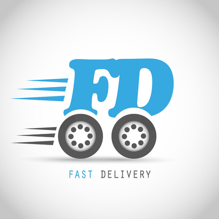 fast delivery: Fast delivery symbol on wheels