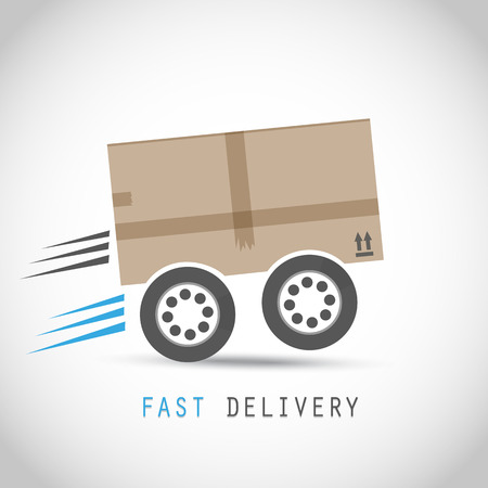 Cardboard box on wheels  イラスト・ベクター素材